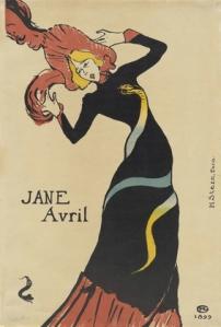 Henri de Toulouse-Lautrec (French, 1864–1901). Jane Avril. 1899. Lithograph, sheet: 22 1/16 x 15″