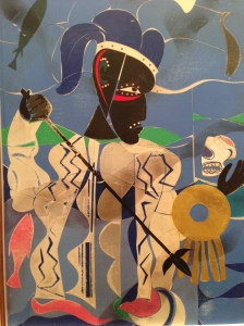 """Romare Beardon, """"Poseiden. The Sea God-Enemy of Odysseus"""" (1977);  collage of various papers, with foil, paint, ink and graphite on fiberboard)"""