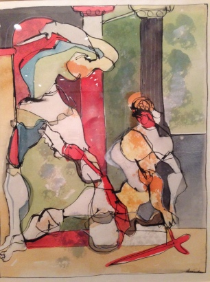 Romare Bearden, Untitled (Two Classical Figures) nd (watercolor and ink on paper)