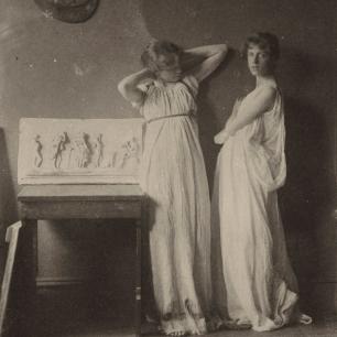 Thomas Eakins, Two Pupils in Greek Dress, 1880s Platinum print