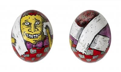 Roz Chast Egg #74, 2010-2013 eggshell. dye and polyurethane 2 1/4 x 1 5/8 inches