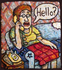 Roz Chast Hello, 2015 hand-hooked rug, wool, burlap23 x 20 inches