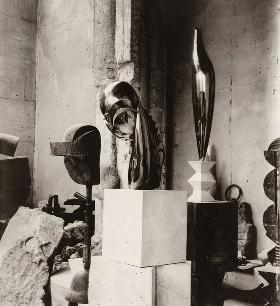 Constantin Brancusi, View of the studio: Plato, Mademoiselle Pogany II, and Golden Bird, c. 1920