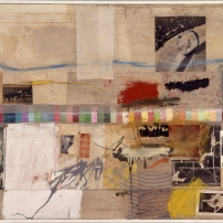 Robert Rauschenberg Small Rebus, 1956 Oil, pencil, paint swatches, paper, newspaper, magazine clippings, black-and-white photograph, map fragments, fabric, and three-cent stamps on canvas