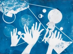 Ofri Cnaani Blue Print (OC real and fake hands) #1, 2015 Cyanotype