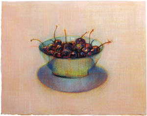 Wayne Thiebaud, Untitled (Bowl of Cherries), pastel on paper