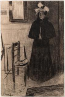 Joaquin Torres-Garcia, Modelo en al Taller (Model in the Studio), charcoal on paper (1898))