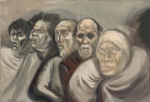 Jose Clemente Orozco, Five Heads (Beggers), gouache on wove paper (1940)
