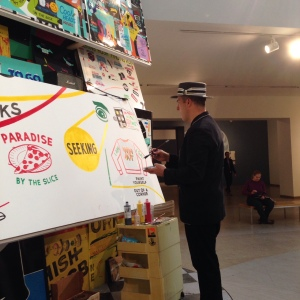 """Stephen Powers creating new """"sign art"""" at the Brooklyn Museum"""